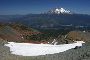 Mount Shasta and the Cascades seen from Mount Eddy in the Klamaths.