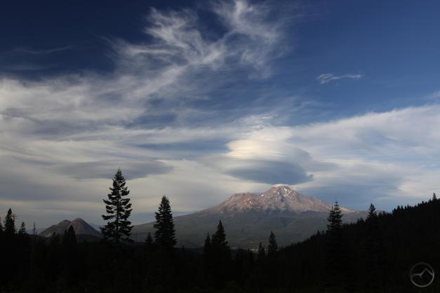 Turbulent skies around Mount Shasta.