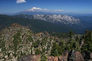 Mount Shasta and Castle Crags from the summit.