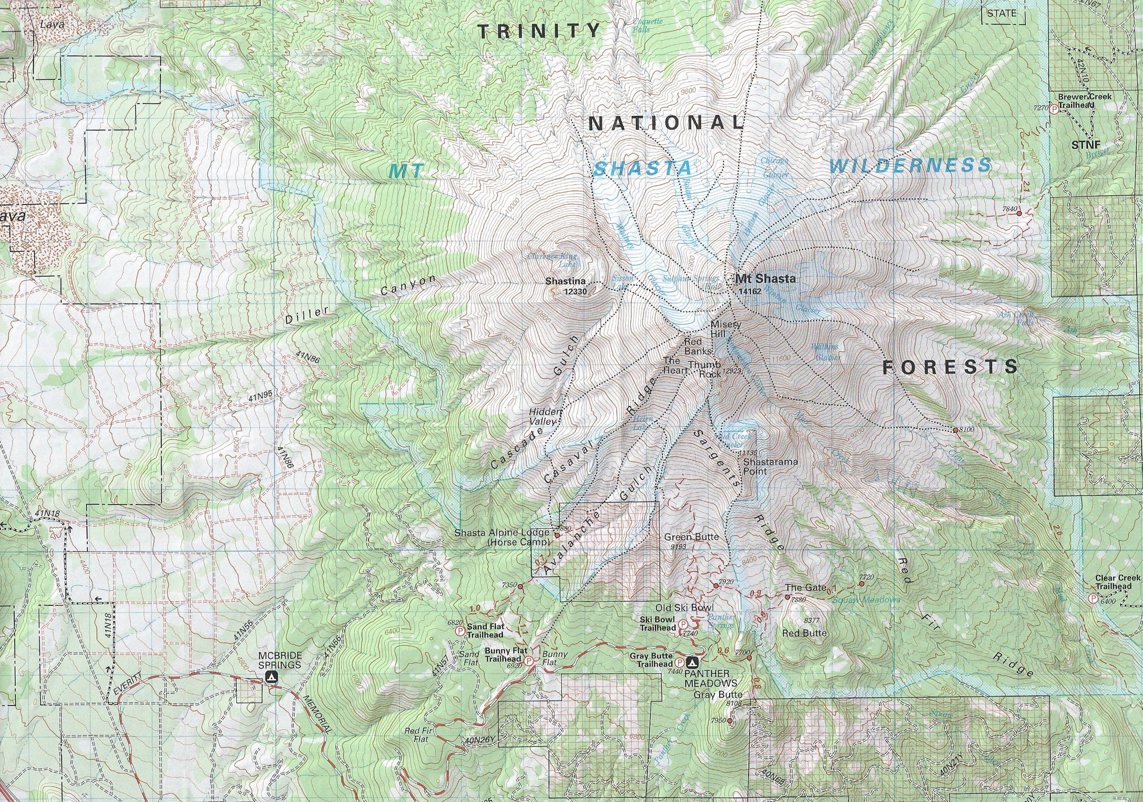thomas harrison. review three mount shasta trail maps  hike mt shasta