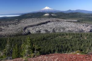 Mount Shasta rises above Little Glass Mountain