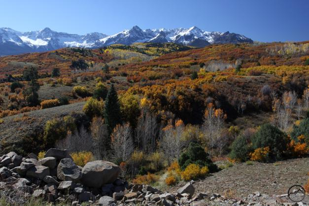 Another view of fall color below the towering Sneffels Range.