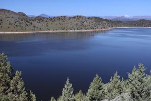 Oregon landmarks visible beyond Lake Shastina