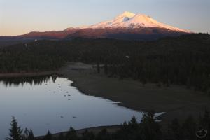 Sunset on Mount Shasta from the Lake Shastina Trail