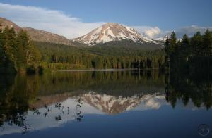 Lassen Peak reflects in Manzanita Lake