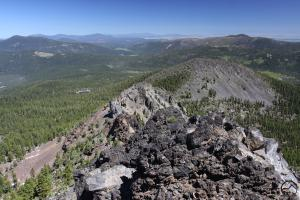 Looking down on the large hoodoo from the summit.
