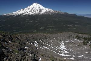 Mount Shasta towers above the Ash Creek Butte Rock Glacier.