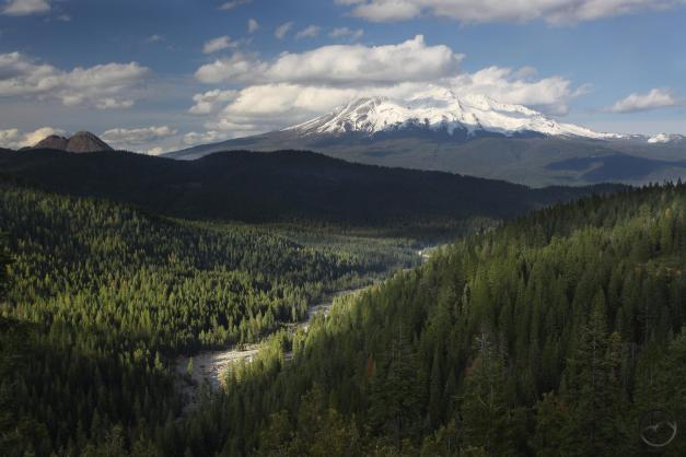 Mighty Mount Shasta towers above the newly constituted Sacramento River.