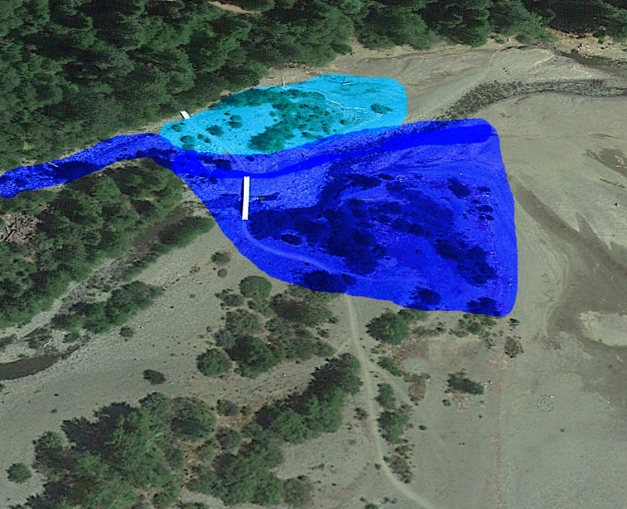 The light blue is areas washed out in 2015. The dark blue are the areas washed out this winter.