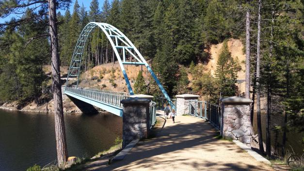 My two older kids run over the Wagon Creek Bridge at Lake Siskiyou.