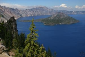 Wizard Island and Llao Rock at Crater Lake.