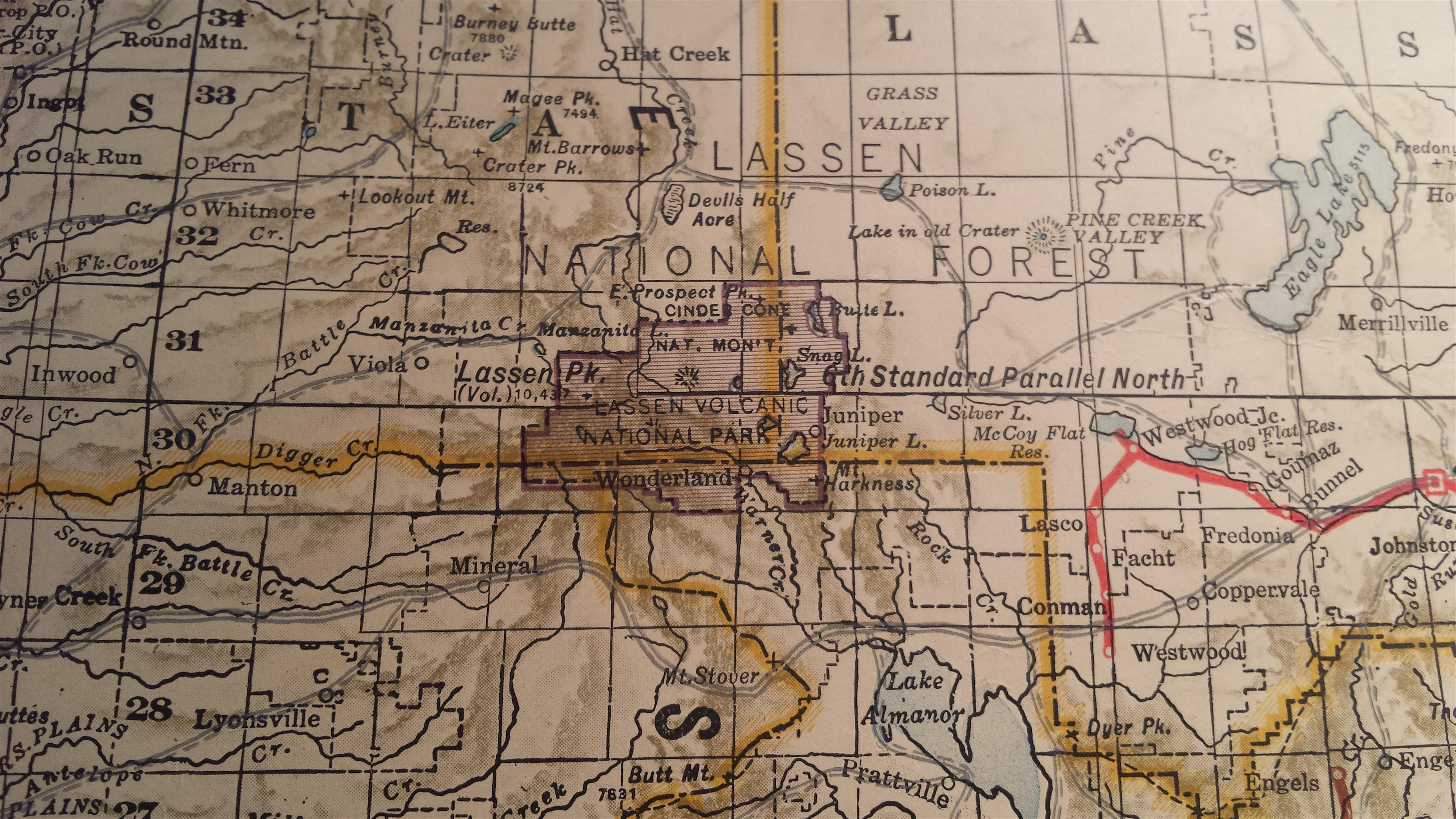 Vintage Map Reveals Early California Cascades Park Hike Mt Shasta